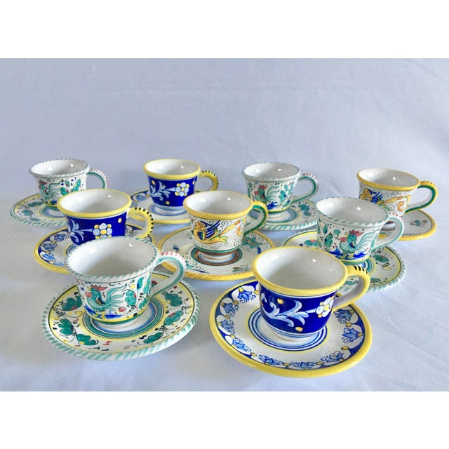 Artistica Italian Majolica Espresso Cups and Saucers - Set of 9 For Sale - Image 13 of 13