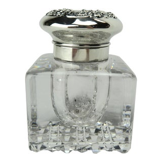 Gorham Crystal Inkwell With Sterling Lid For Sale