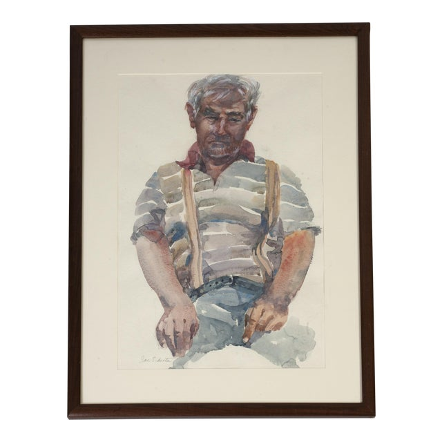 Painting Watercolor Portrait Man in Suspenders For Sale