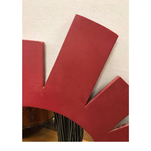 Mid-Century Modern Architectural Midcentury Large Red Geometric Starburst Wall Mirror For Sale - Image 3 of 5