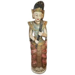 Early 20th Century Thai Goddess Polychrome Statue For Sale