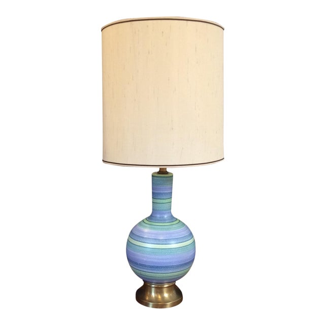 Vintage Striped Pottery Lamp - Image 1 of 8