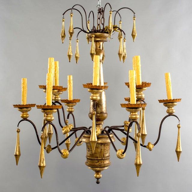 Gold Large Italian Twelve Light Gilt Wood Chandelier For Sale - Image 8 of 8