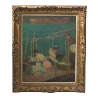 """1950s Vintage """"Washerwomen in Brittany"""" Roy Gamble Oil Painting For Sale"""