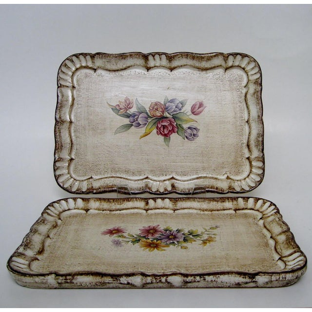 Florentine Botanical Trays - a Pair For Sale - Image 4 of 6