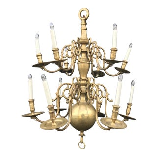 Mid 18th Century Antique Brass Dutch Chandelier For Sale