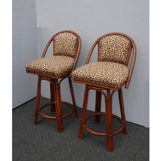 Pair Vintage Mid Century Bamboo Rattan Swivel Leopard Print Gold Bar Stools Preview