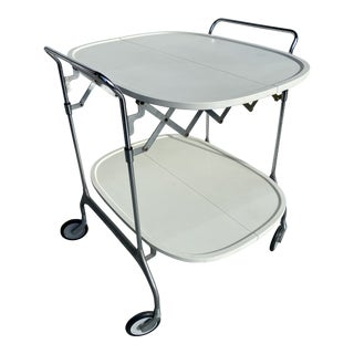 Kartell Gastone 4470t6 Serving Trolley Whith Wheels in Cream For Sale