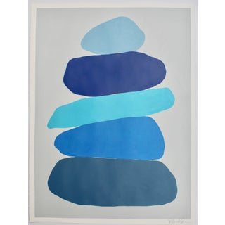 Cairn in Blues Painting by Stephanie Henderson