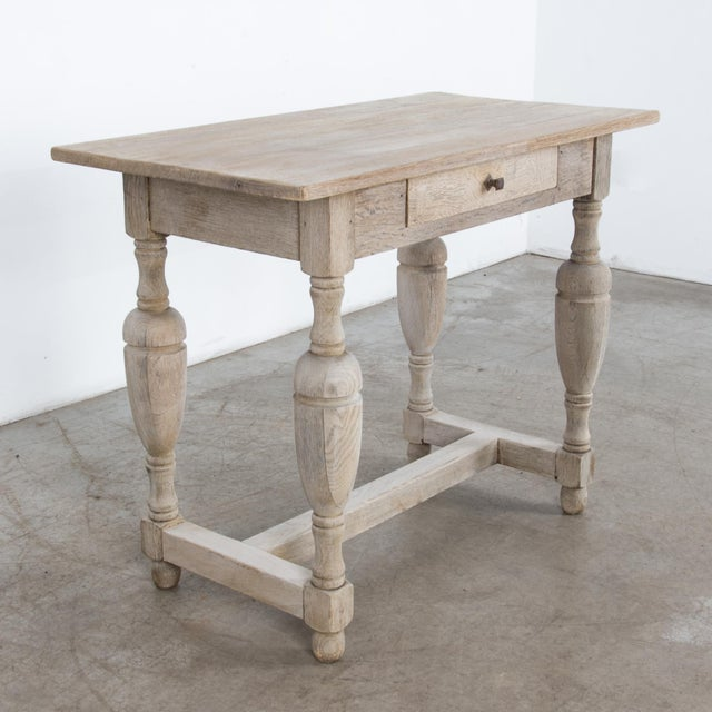 1900 - 1909 Antique French Oak Table With Drawer For Sale - Image 5 of 12