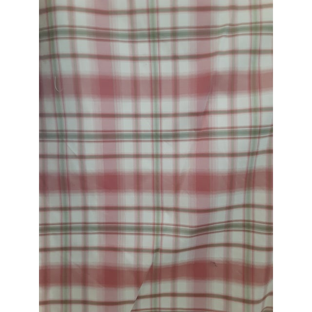 Pindler and Pindler Designer Silk Infused Woven Raspberry Pink and Light Green on Cream Woven Plaid - 10 Yards For Sale