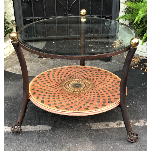 Art Deco Vintage 1980's Modern Round Wrought Iron & Beveled Glass Side Table For Sale - Image 3 of 4
