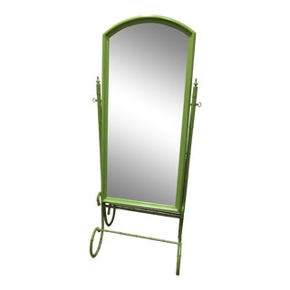 Vintage Metal Faux Bamboo Standing Floor Mirror
