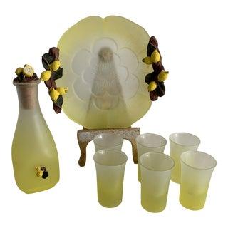 1970s Lemon Embellished Dish, Bottle and Shot Glasses, 8 Pieces For Sale
