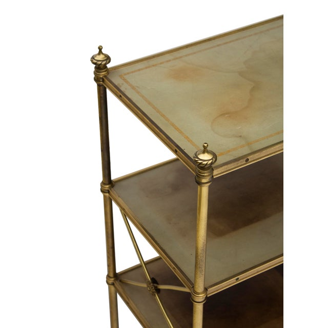 Green Petite Leather-Lined Brass Etagere or Bookshelf by Baker For Sale - Image 8 of 10