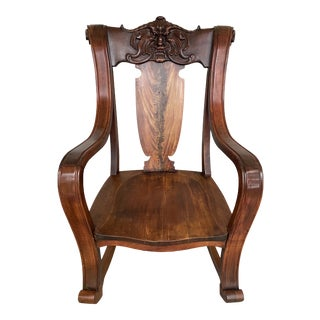 1880s Vintage Mahogany North Wind Carved Face Second American Empire Style Rocking Chair For Sale
