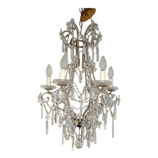 French Maison Bagues Style Beaded Crystal Prisms and Flowers Chandelier For Sale