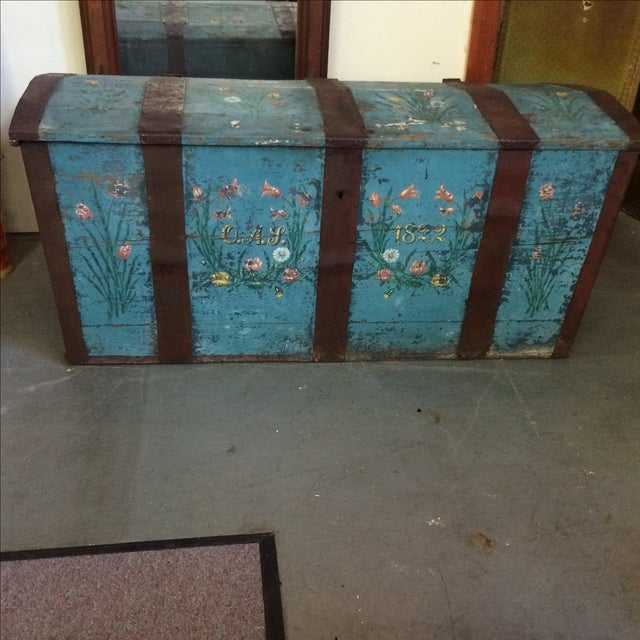 Wonderful painted pine oversized chest. Turquoise with metal straps. Floral painted motif with date and initials OAS/T....