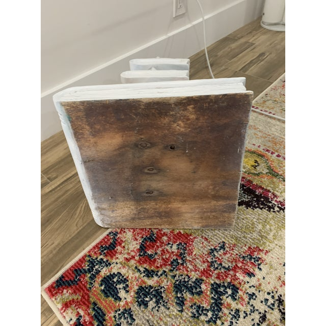 Wood Tromp l'Oeil Stack of Books Side Table For Sale - Image 7 of 10