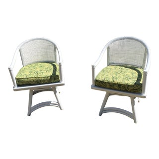 Ficks Reed Cane Swivel Chairs - A Pair For Sale