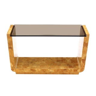 Burl Wood Smoked Smoked Glass Top U-Shape Console Table For Sale