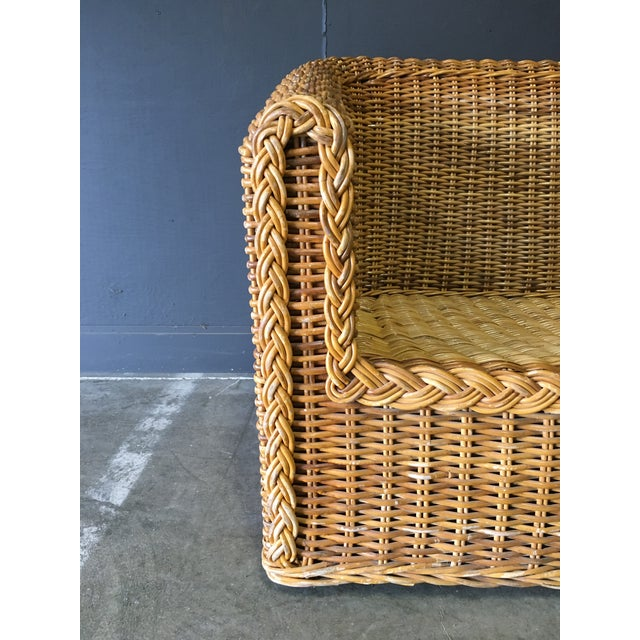 Wicker Vintage Mid-Century Modern Wicker Sofa For Sale - Image 7 of 12