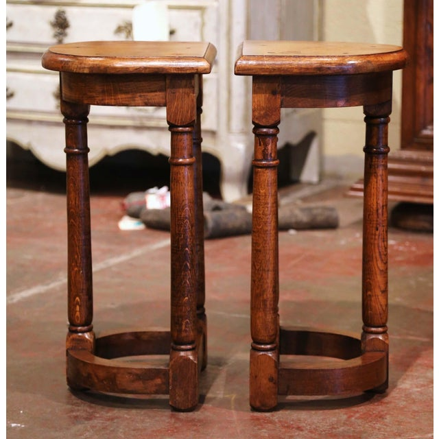French 19th Century Louis XIII Oak Three-Leg Demilune Side Tables - a Pair For Sale - Image 3 of 9