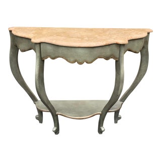 Lynn Palmer Kathleen Spiegelman French Country Marble Top Console Table For Sale