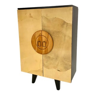 Art Deco Goat Skin and Mahogany Bar Cabinet For Sale