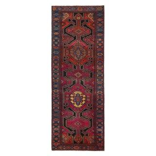 Vintage Kazak Red and Blue Wool Runner Rug - 3′4″ × 9′6″ For Sale