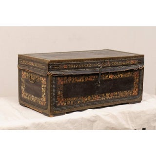 19th Century Chinese Wood and Hand Painted Leather Trunk With Nail Head Accents Preview