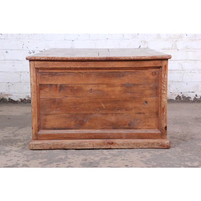 19th Century Country French Primitive Pine Double-Sided Map File Cabinet or Coffee Table For Sale - Image 10 of 13