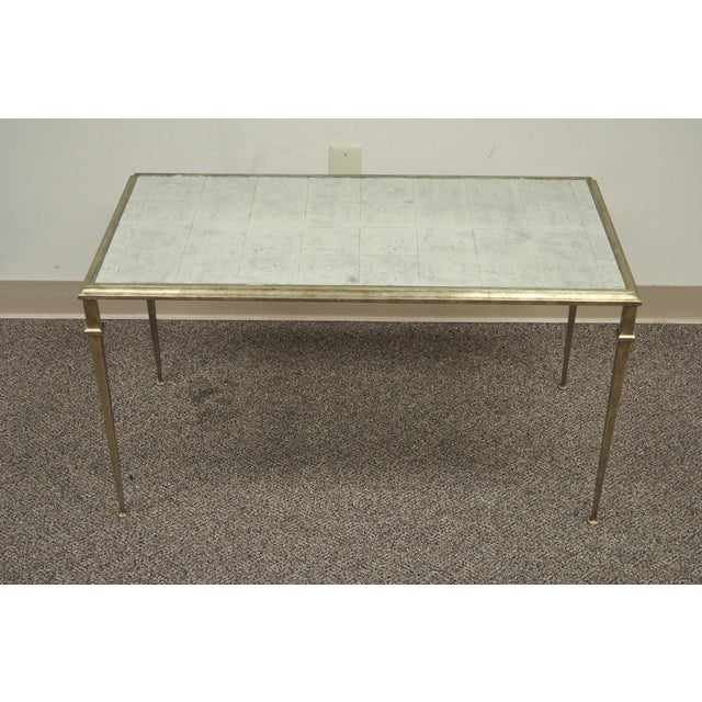 Neoclassical Style Gilt Metal Silver Leaf Mirror Top Coffee Table - Image 2 of 11