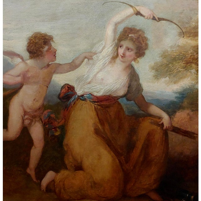 "18th Century Neoclassical ""Cupid & Goddess"" Oil Painting For Sale - Image 4 of 9"