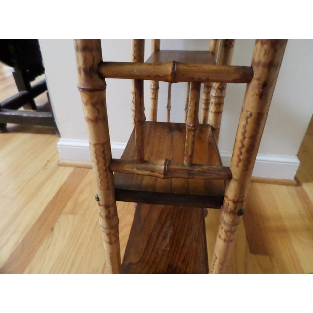 Bamboo Etagere With Burnt Decoration, 19th Century For Sale In Philadelphia - Image 6 of 12