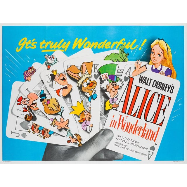 A late 50s/early 60s re-release for Disney's Alice in Wonderland (undated but we believe it is most likely from 1958)....