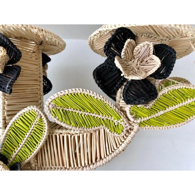 Boho Chic Mercedes Salazar Handmade Straw Candleholder For Sale - Image 3 of 7