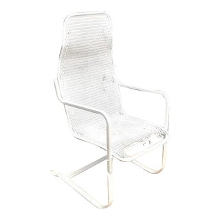 Lloyd Loom Wicker High-Back Cantilever Chair For Sale