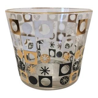 1960s Vintage Atomic Snowflake Glass Ice Bucket