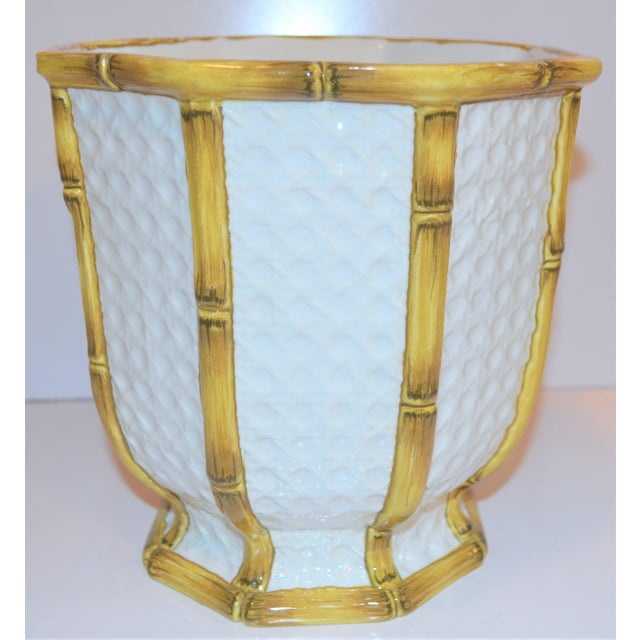 Asian Vintage Meiselman Italian Faux Bamboo Cachepot For Sale - Image 3 of 13