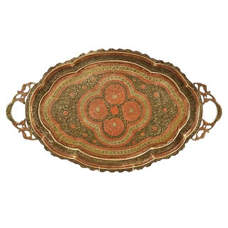 """Asian Enameled 23"""" Brass Tray For Sale"""