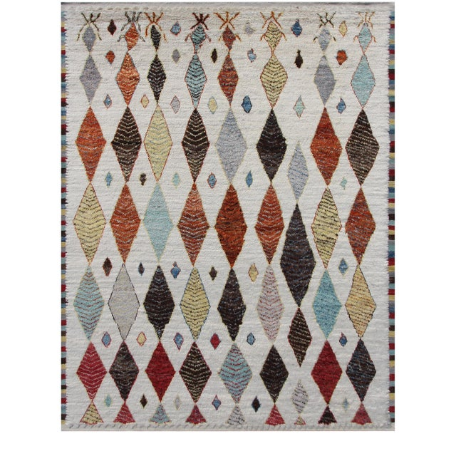 Hand Knotted Moroccan Rug- 10′9″ × 13′11″ For Sale