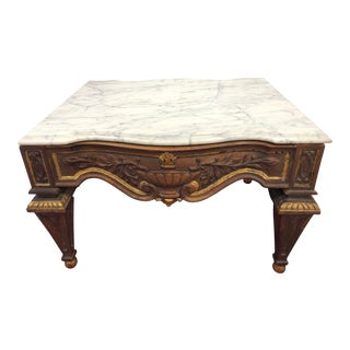 Vintage Hand Carved Wood and Marble Top Coffee Table