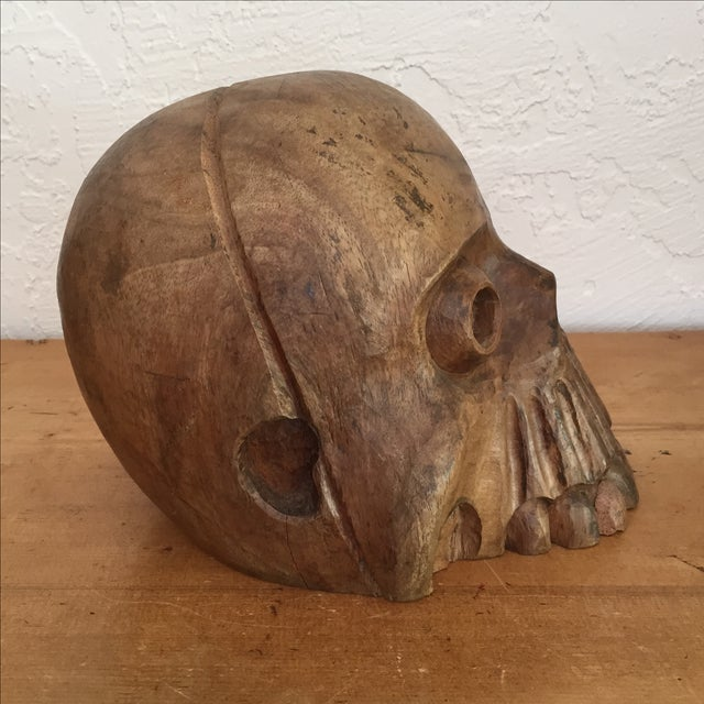 Vintage Paper Mache Mold Wood Skull - Image 6 of 8