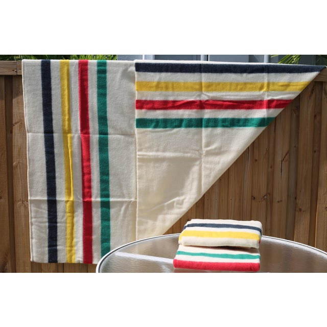 Textile Vintage New Old Stock Early's of Witney Four Point Color Stripe Wool Blankets - a Pair For Sale - Image 7 of 10