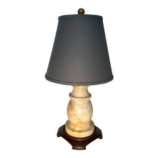 Vintage Marble Lamp With Grey Linen Shade For Sale