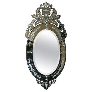 Venetian Hollywood Regency Style Oval Wall Mirror With Etched Floral Motif For Sale