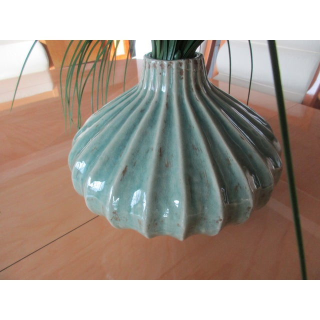 Global Views Global Views Teal Cinched and Fluted Vase For Sale - Image 4 of 11