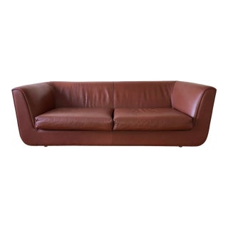 1980s Vintage Italian Brown Leather Sofa For Sale