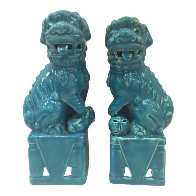 Mismatched Turquoise Foo Dogs - Pair For Sale